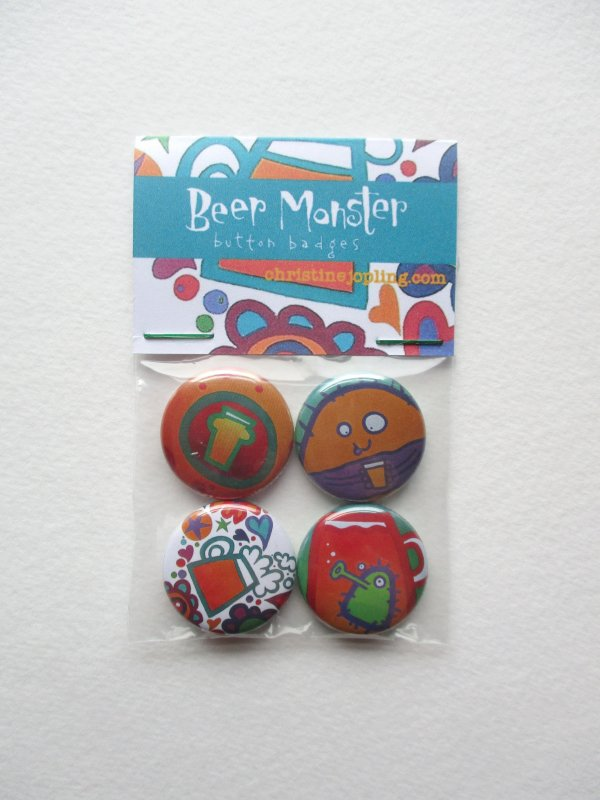 Set of 4 x 25mm metal button badges – Beer Monsters