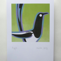 A4 British Bird Print - Magpie