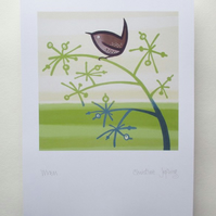 A4 British Bird Print - Wren