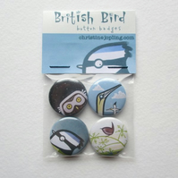 Set of 4 x 25mm metal button badges – British Birds