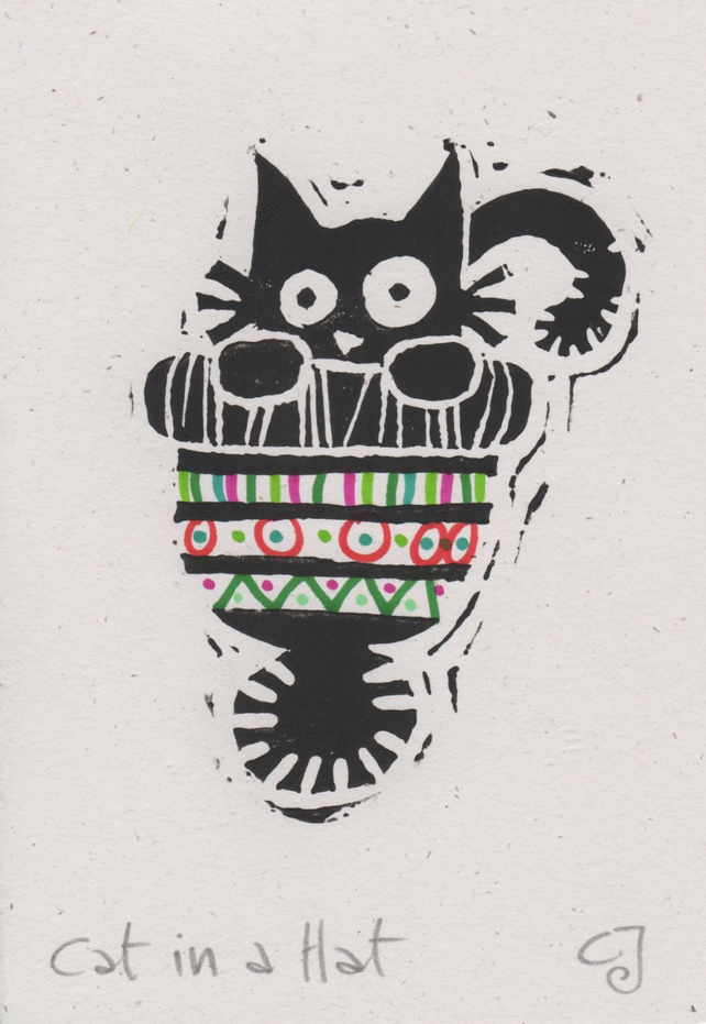 Christmas Cards To Print.Cat In A Hat Lino Cut Print Christmas Card