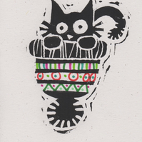 Cat in a Hat - lino cut print Christmas card