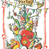 A3  Beer Monster Party Poster Print