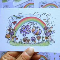 A6 Rainbow, Butterfly and Bee Postcard