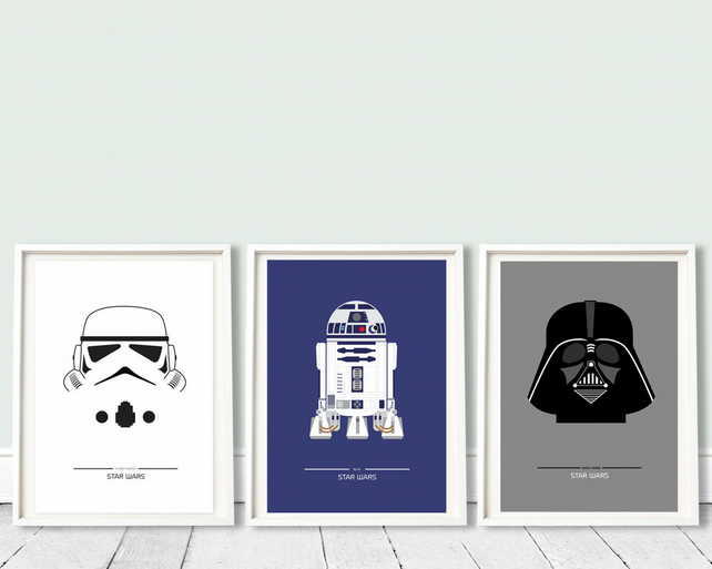 STAR WARS - collection of 3 - A3 prints movie, film poster, star wars trilogy