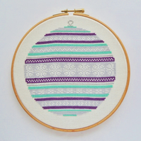 Christmas cross stitch, DIY Christmas, PDF printable - Festive Bauble