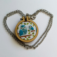 Mother and Baby Owl hand embroidered pendant - blue