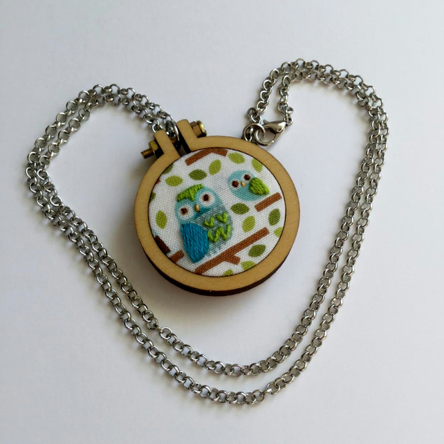 Mother and Baby Owl hand embroidered pendant - blue and green