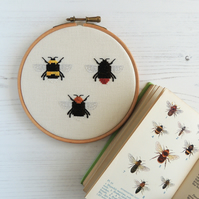 Cross stitch bee pattern - bumblebee - PDF printable -  bee cross stitch chart