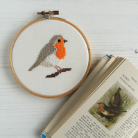 Cross stitch bird pattern - Robin - PDF printable - cross stitch chart PDF