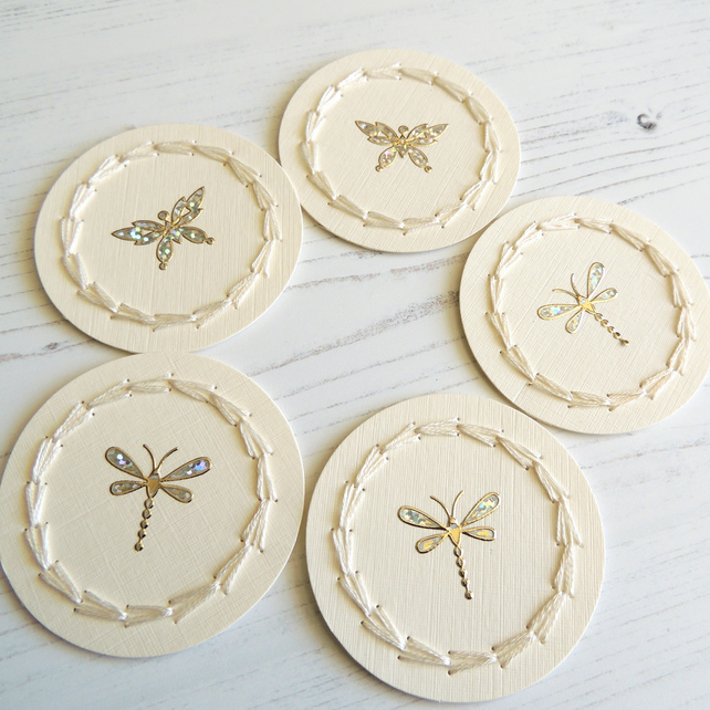 Set of 5 Handmade butterfly and dragonfly card toppers - hand embroidered detail
