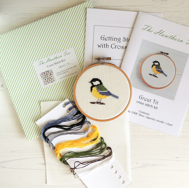 Great Tit small bird cross stitch kit