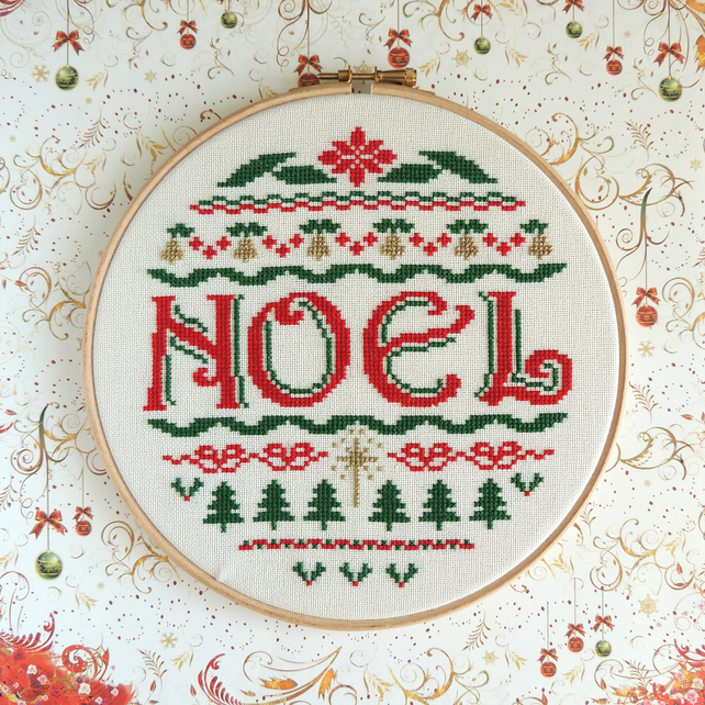 Christmas cross stitch, Noel Sampler, PDF pattern