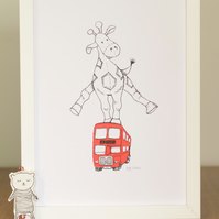 Hand pulled screen print Wall Art:  Giraffe Jumping over a Bus