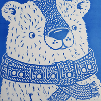 Hand Printed Lino Cut Polar Bear Christmas Card, Season's Greetings