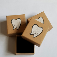 Tooth Fairy Box; Baby Teeth Box - Handprinted keepsake trinket box