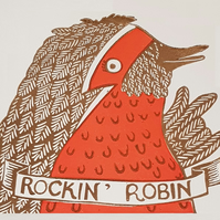 Rocking Robin: Hand printed Christmas card for Bowie and Rock Music lovers
