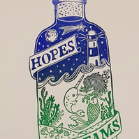 Hopes & Dreams: Mermaid, Narwhal, Moon & Stars Hand-printed Lino Print, Wall Art