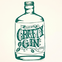 Crafty Gin: Original Original A4 handprinted linocut wall art gift, kitchen