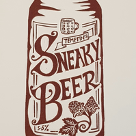 Sneaky Beer: Original A4 handprinted linocut wall art print, for beer lovers
