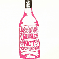 Wine Not: Original A4 handprinted linocut art print, wall art, kitchen, Red
