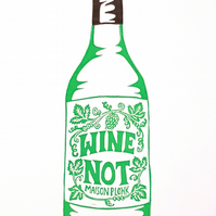White Wine Not: Original A4 handprinted linocut art print, wall art