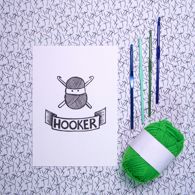 Hooker:  Handprinted A5 Linocut art print for Crochet Lover