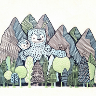 Yeti Family A3 original lino cut print:  Nursery Art, gift for baby or child