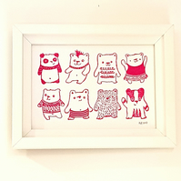 Bears, Bears, Bears: Original Handprinted Lino Cut art for child's room, nursery