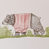 Bear in Knitwear: Original handprinted lino cut, nursery child room wall art