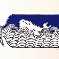 Keep On Swimming:  Handprinted Linocut wall art, whale in a bottle