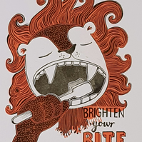 Brighten Your Bite:  Original handprinted A3 Linocut Wall Art