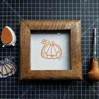Little Pumpkin Mini Handprinted Linocut Artwork