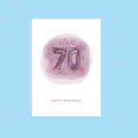 70th Birthday Card, Can be Personalised Male or Female