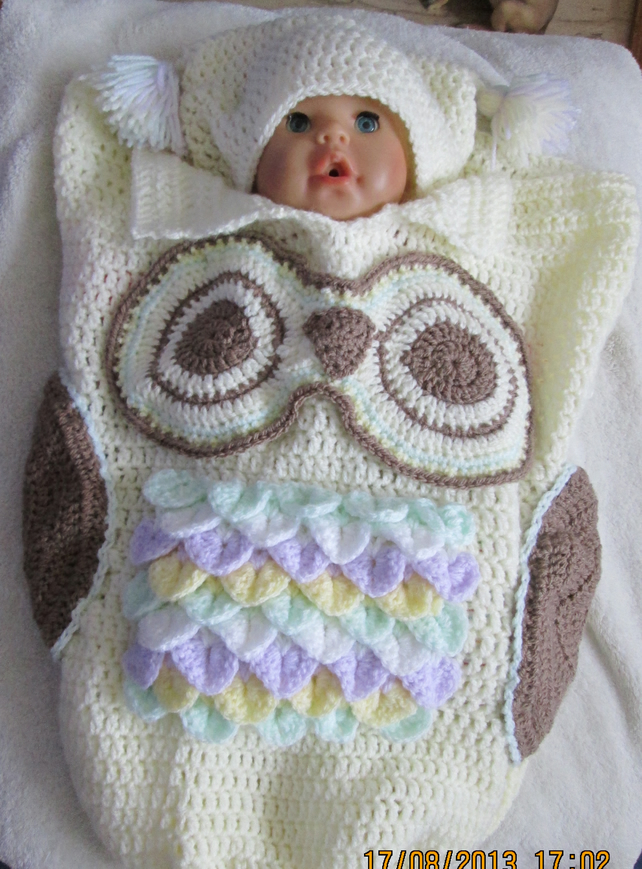 Hand Crochet Owl Cocoon and Hat for Baby - Folksy