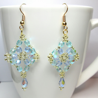 Blue pastel flower earrings