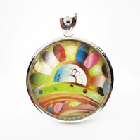 Rainbow abstract flower round tile cabochon pendant and choker necklace