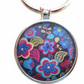 Blue hippy retro flower pendant floral keyring