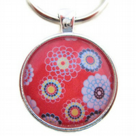 Red retro flower keyring floral keychain