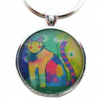 Multicoloured rainbow cat pendant or keyring