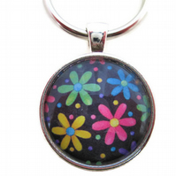 Rainbow and black daisy flower floral keyring