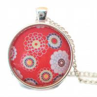Red retro flower pendant floral necklace