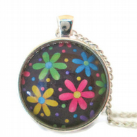 Rainbow and black daisy flower floral pendant and necklace