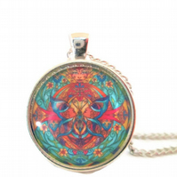 Butterfly mandala round glass cabochon art pendant and necklace