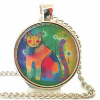 Multicoloured rainbow cat pendant
