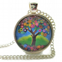 Colourful tree of life pendant and necklace
