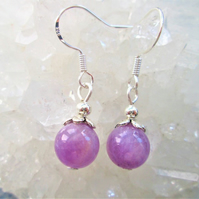 Lavender jade minimalist dangle earrings