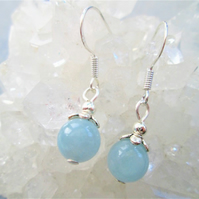 Natural aquamarine minimalist dangle earrings