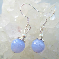 Blue lace agate small minimalist dangle earrings