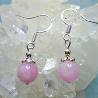 Natural pink kunzite small minimalist dangle earrings